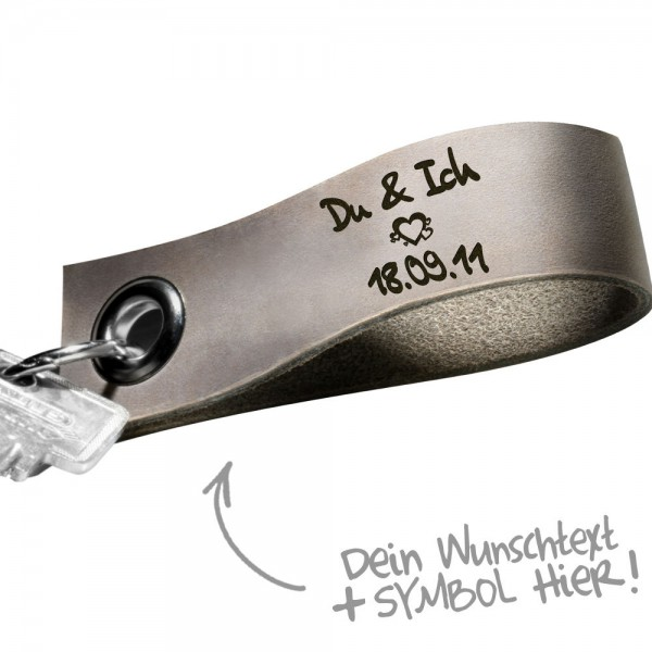 Echt-Leder-Schluesselanhaenger-graviert-Key-ring-Wunschtext-Partner-Schluesselband